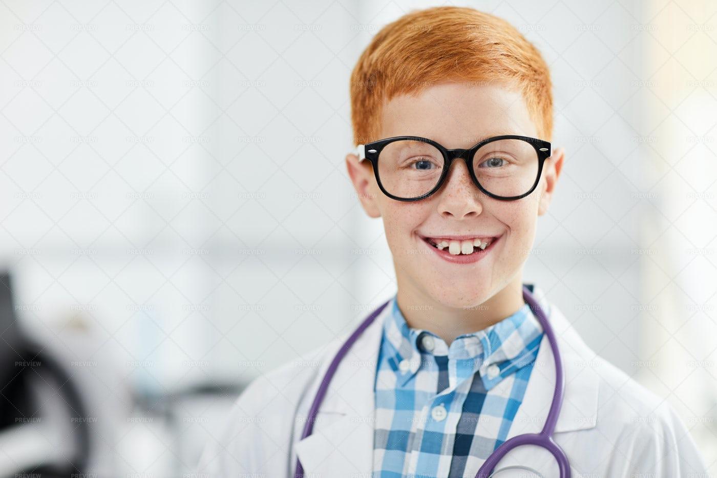 Smiling Little Boy Posing As Doctor: Stock Photos