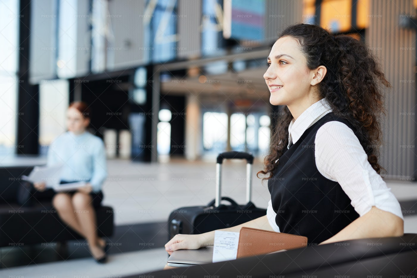 Young Businesswoman In Airport: Stock Photos