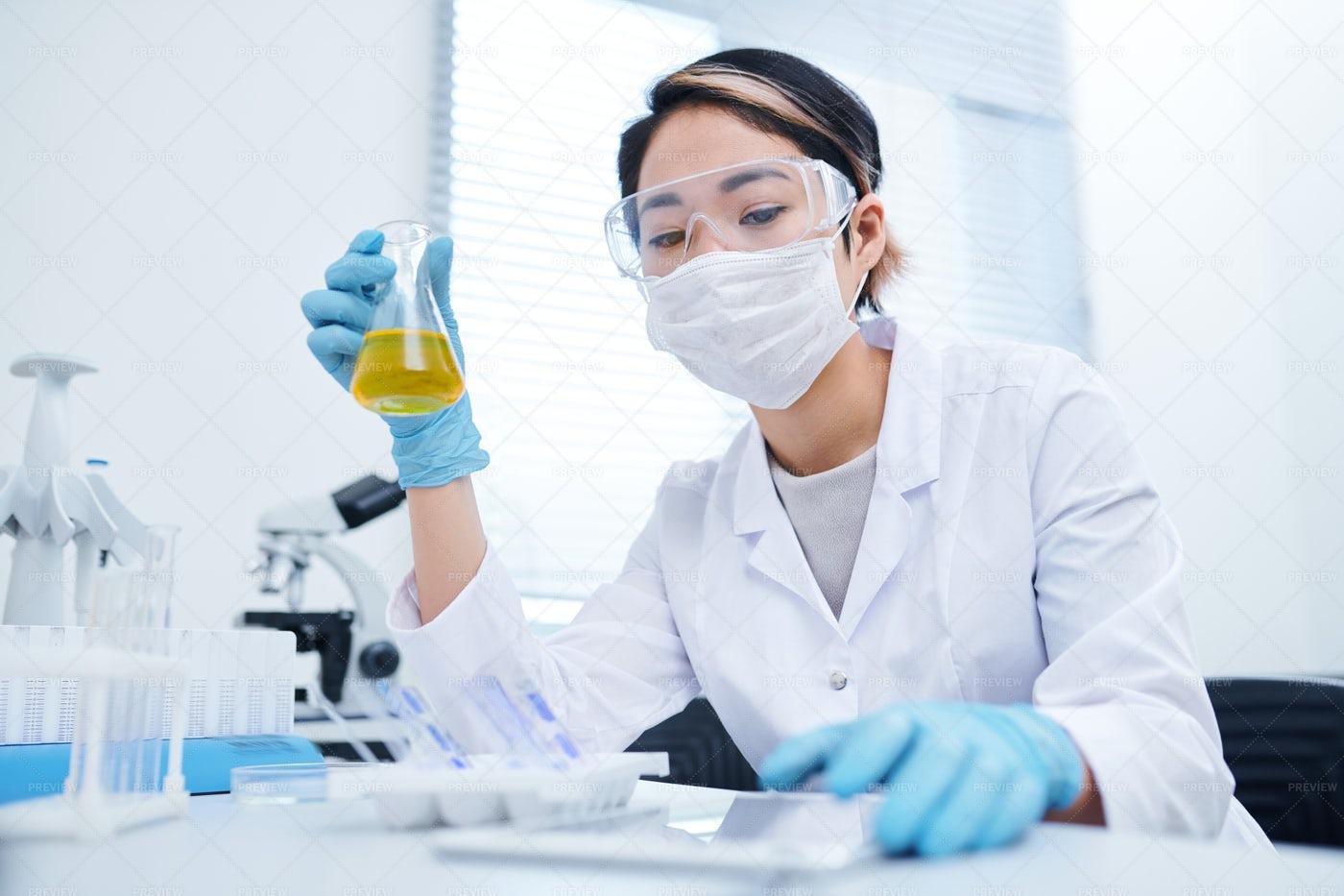 Lab Technician Processing Specimen: Stock Photos