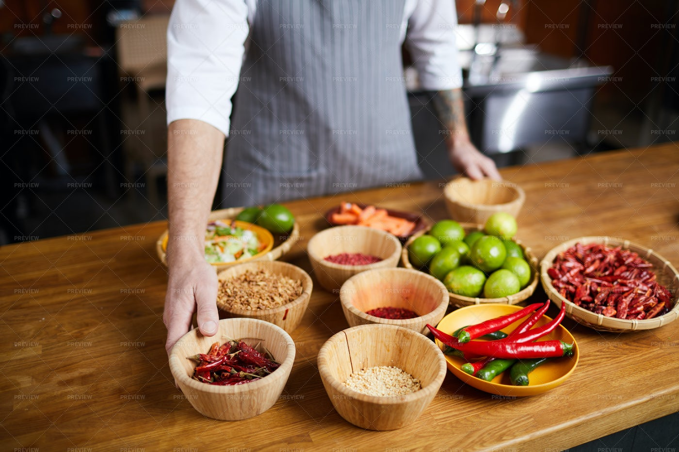 Professional Chef Choosing Spices: Stock Photos