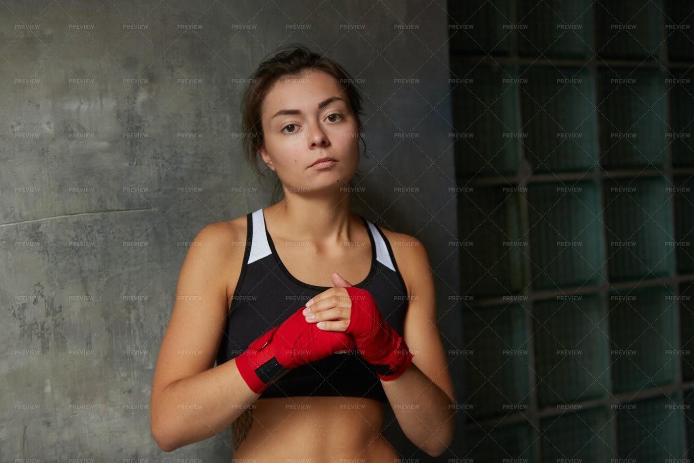 Tough Young Woman Looking At Camera: Stock Photos