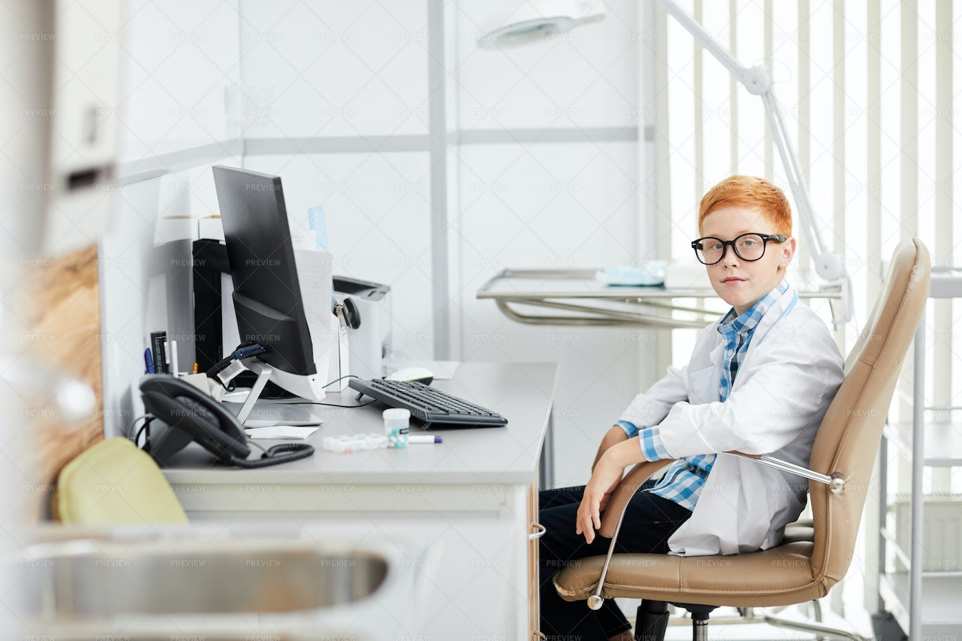 Cute Boy Playing Doctor: Stock Photos
