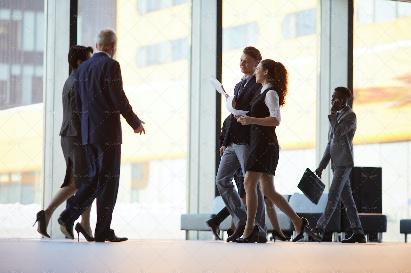 Busy Hall In Office Building: Stock Photos