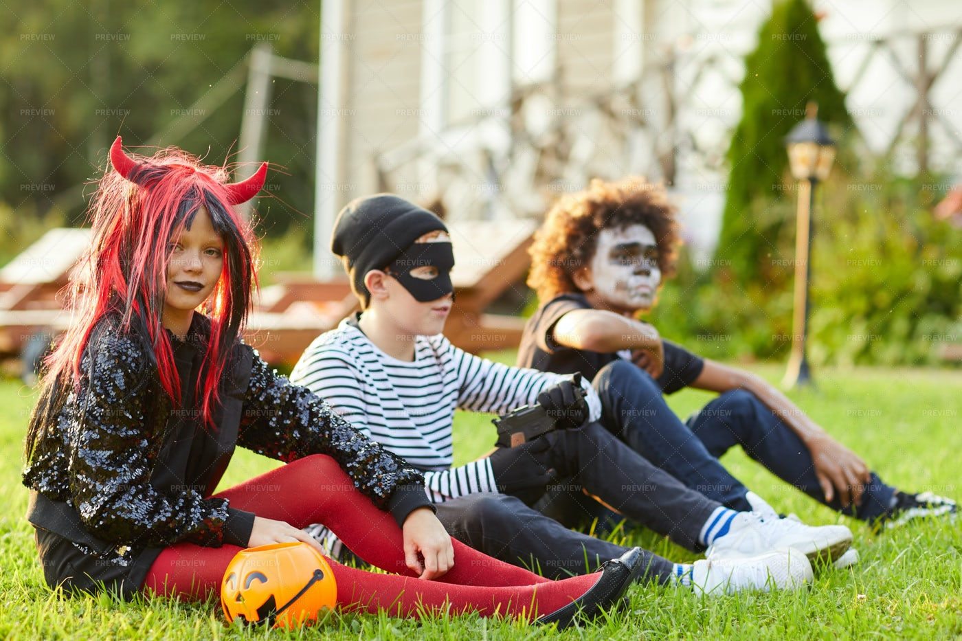 Kids Outdoors On Halloween Day: Stock Photos