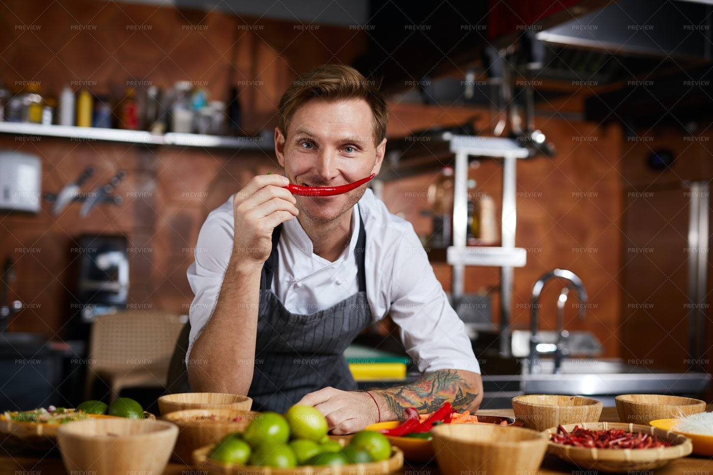 Chef Hoilding Red Pepper: Stock Photos