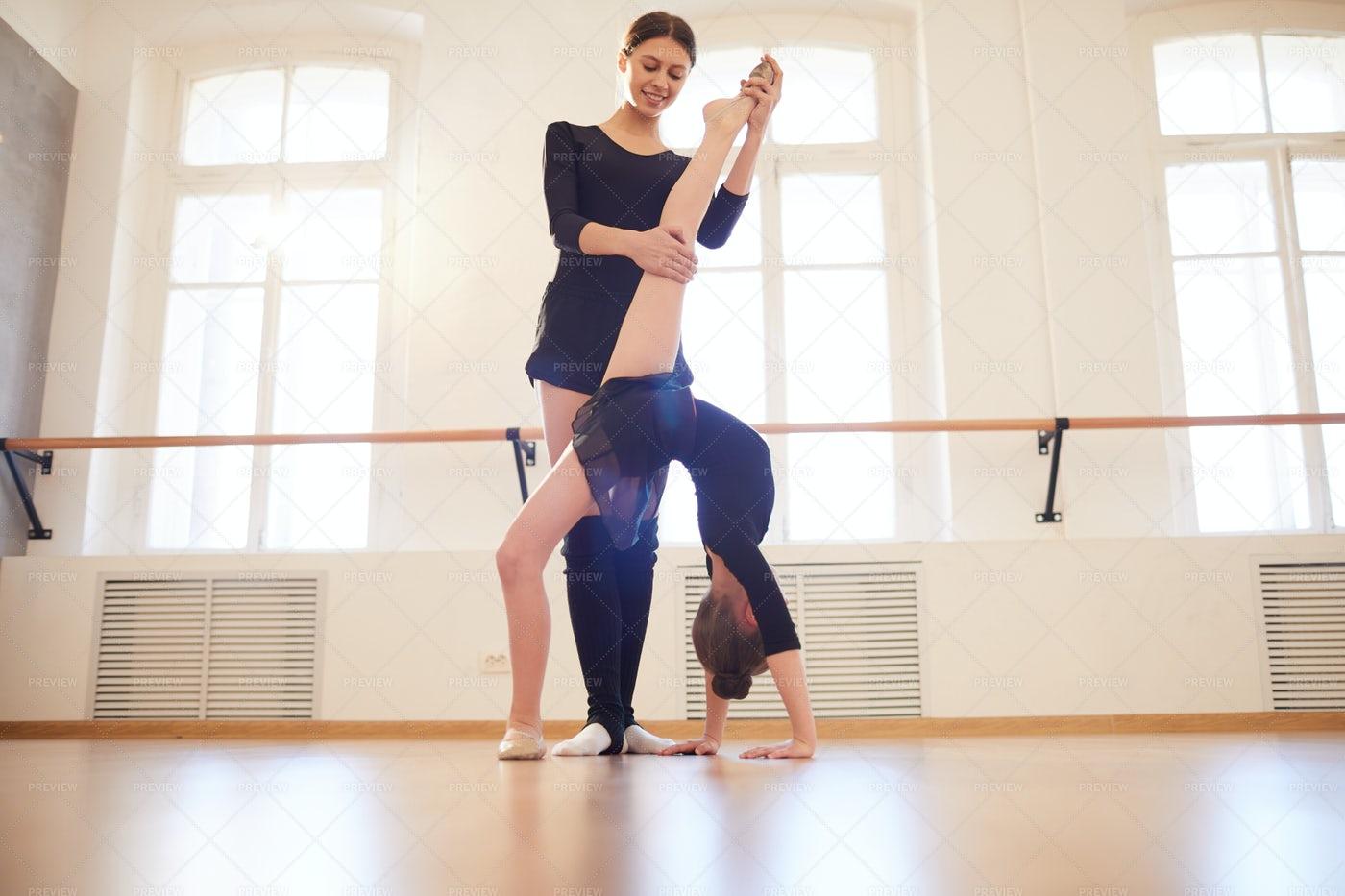 Choreogrpher Working With Gymnast: Stock Photos