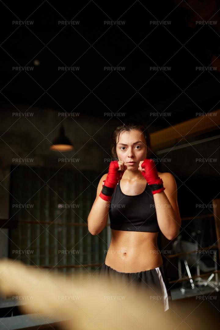 Beautiful Young Woman At Boxing...: Stock Photos