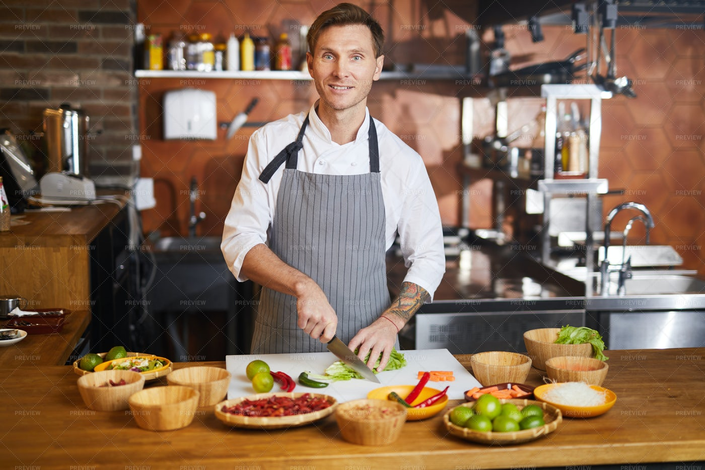 Male Chef Cooking Spicy Food: Stock Photos