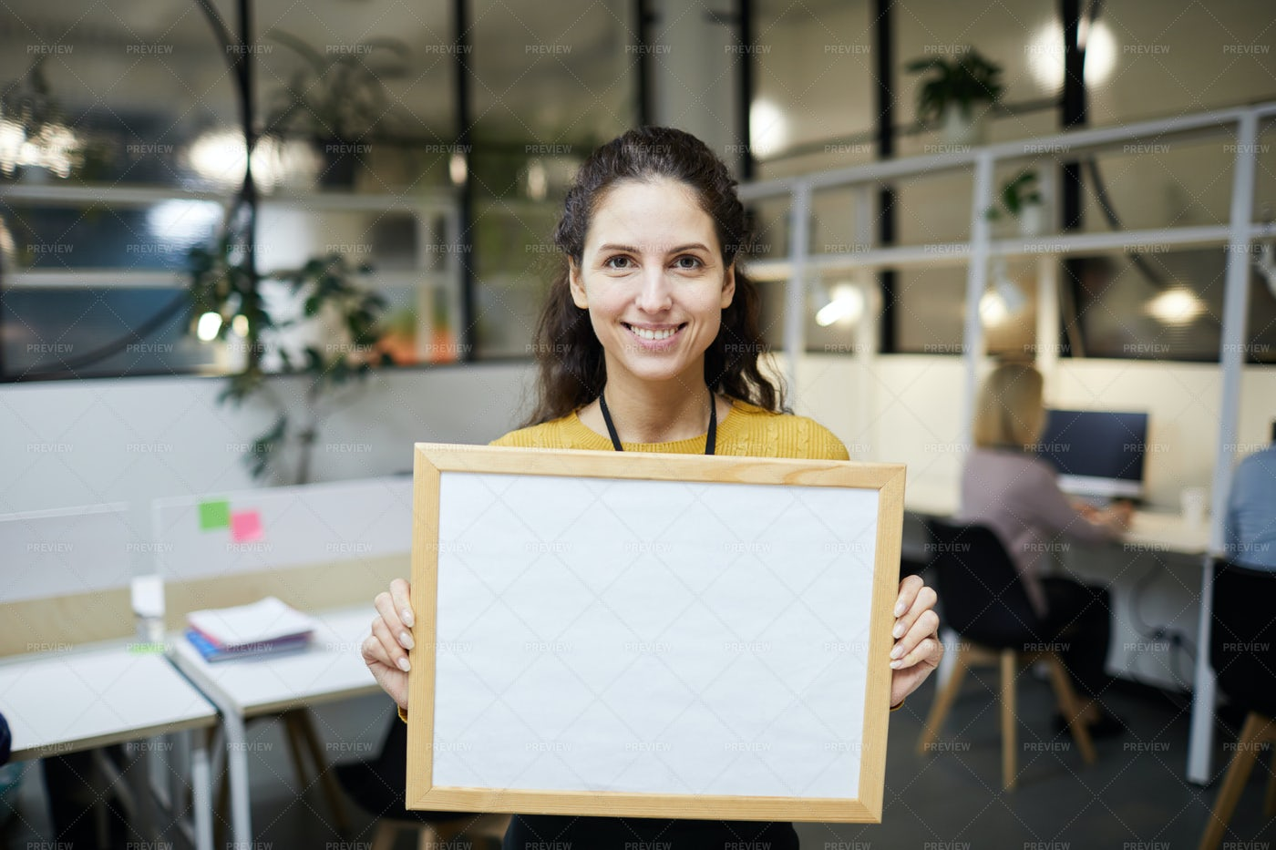 Cheerful Lady Holding Blank Banner: Stock Photos