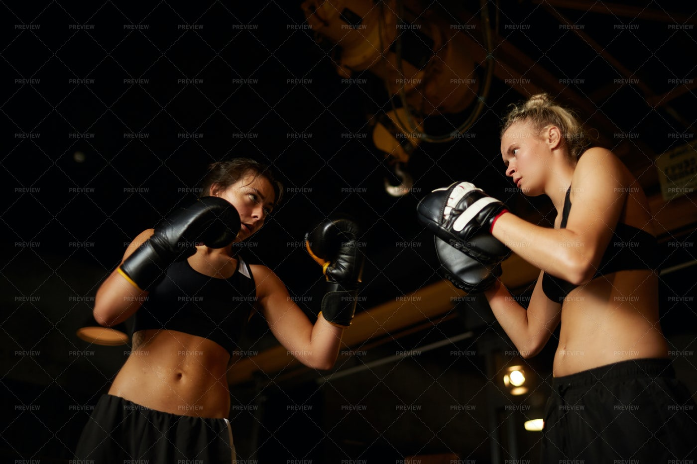 Young Women Boxing Low Angle: Stock Photos