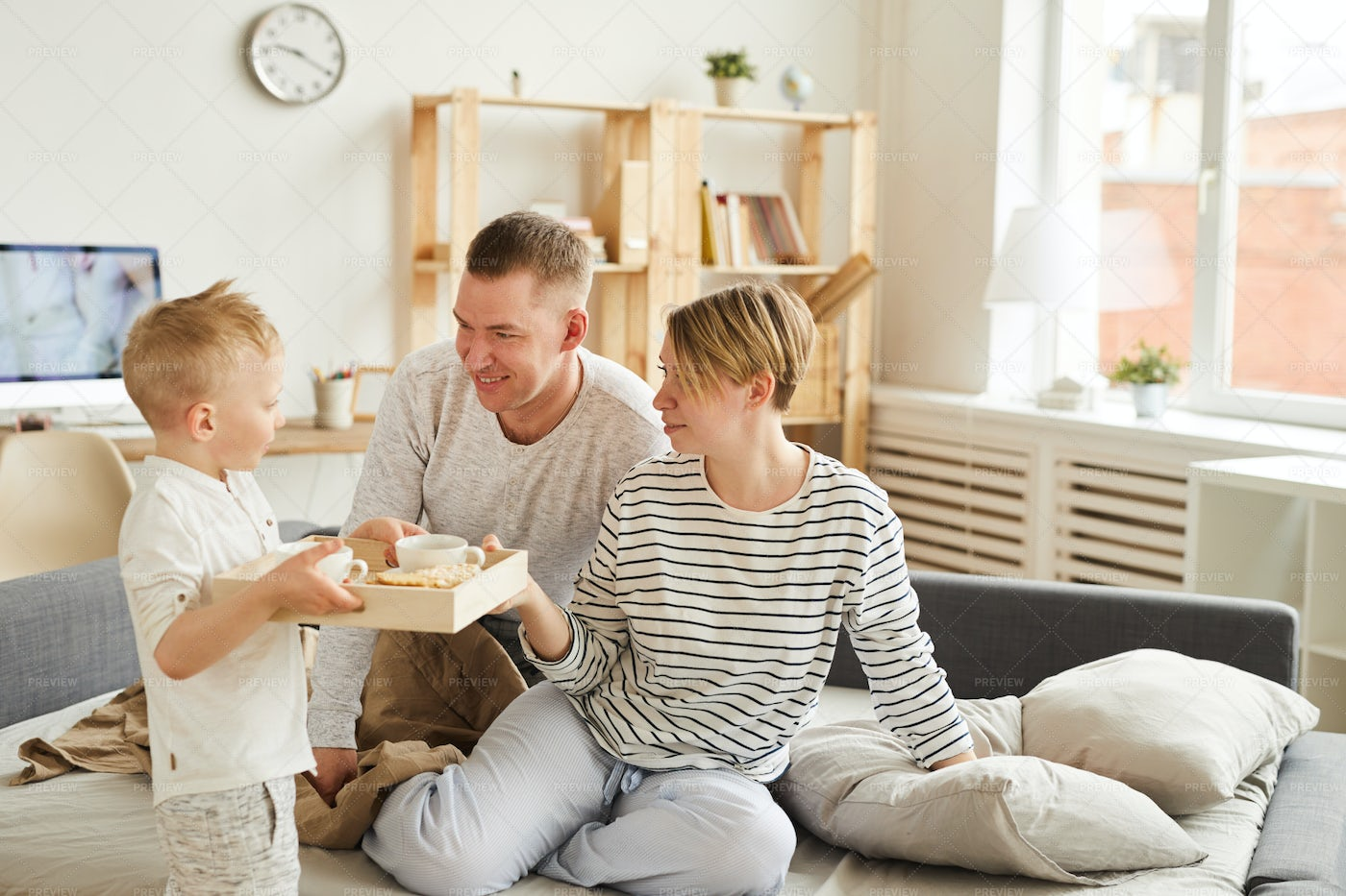 Son Taking Care Of Parents: Stock Photos