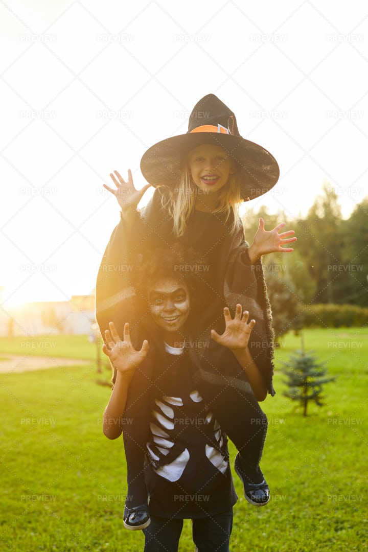 Two Playful Kids On Halloween: Stock Photos