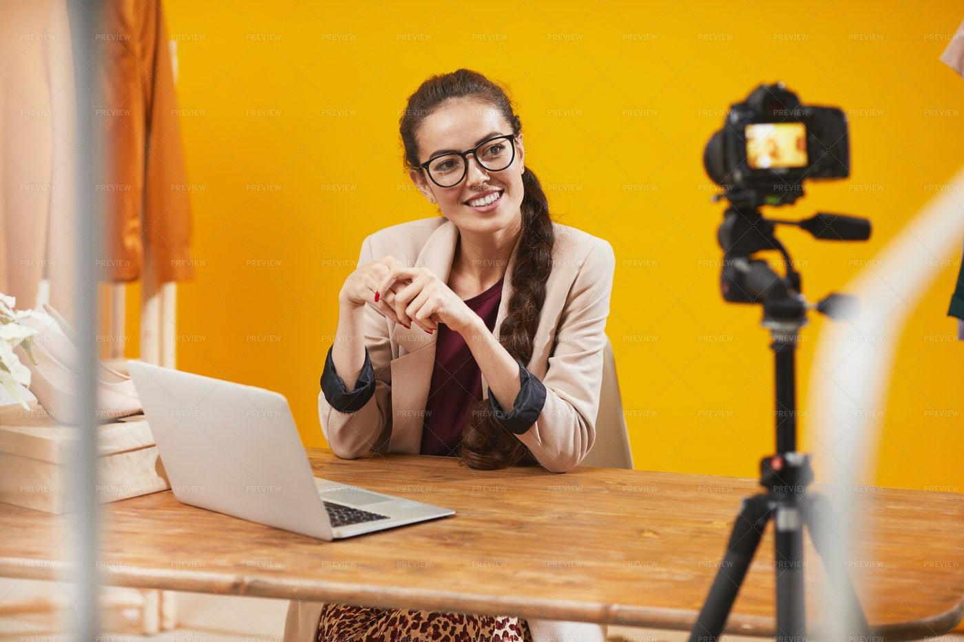 Beauty Vlogger Talking To Camera: Stock Photos