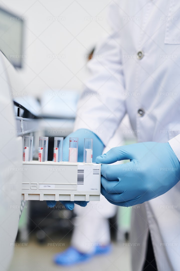 Putting Test Tube Section Into...: Stock Photos