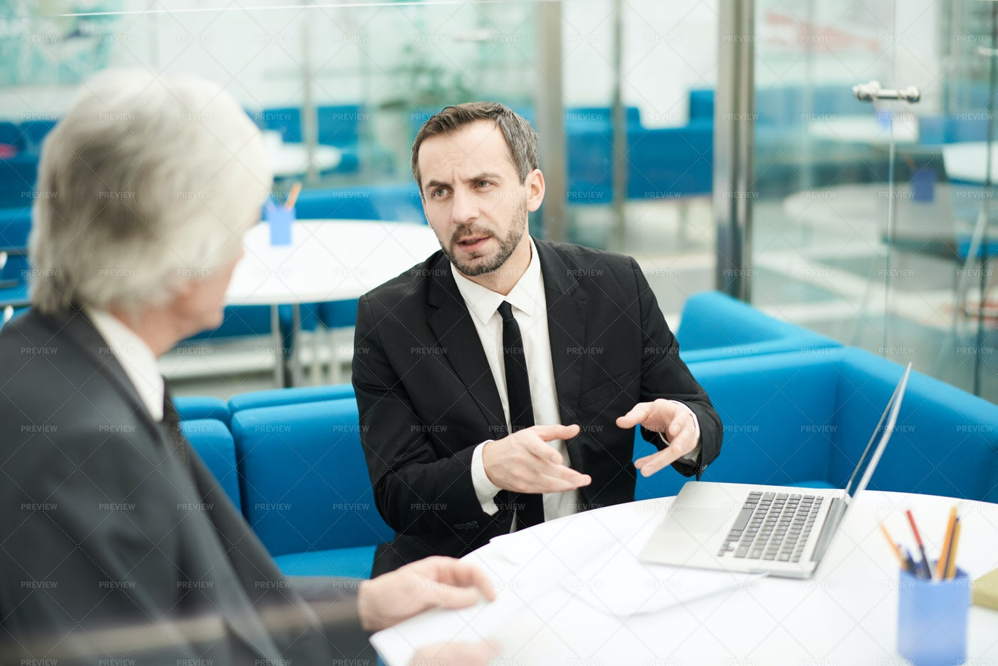 Two Business Partners In Meeting: Stock Photos