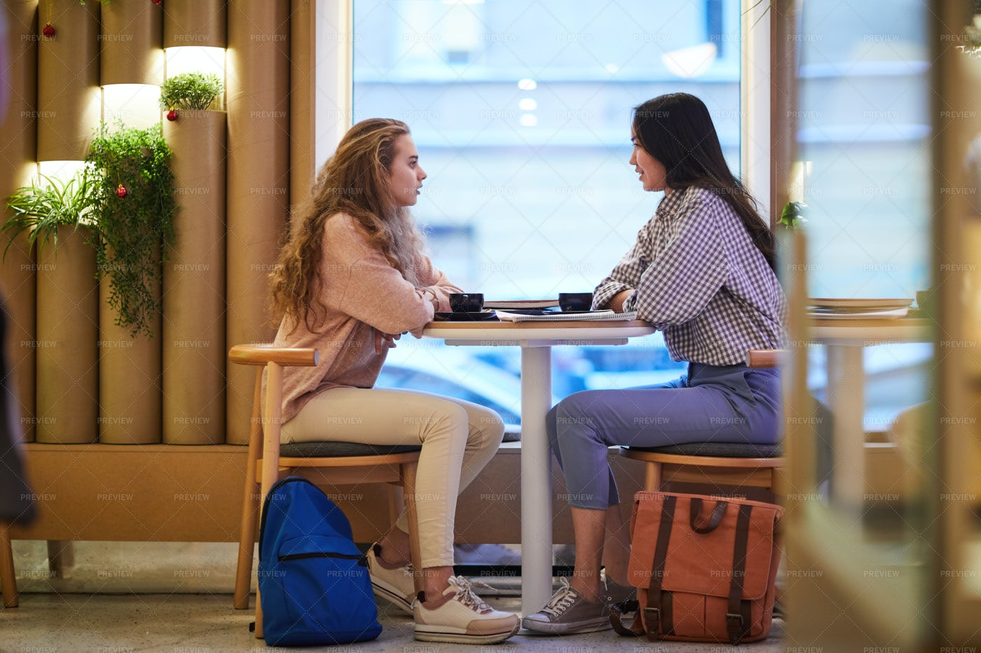 Friendly Girls In Cafe: Stock Photos