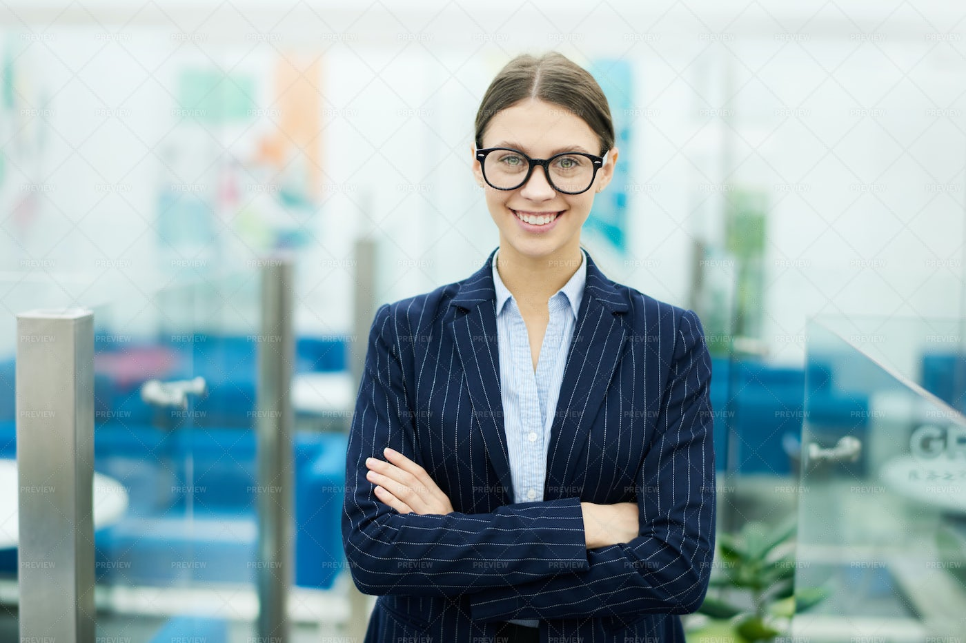 Young Businesswoman Wearing Glasses: Stock Photos