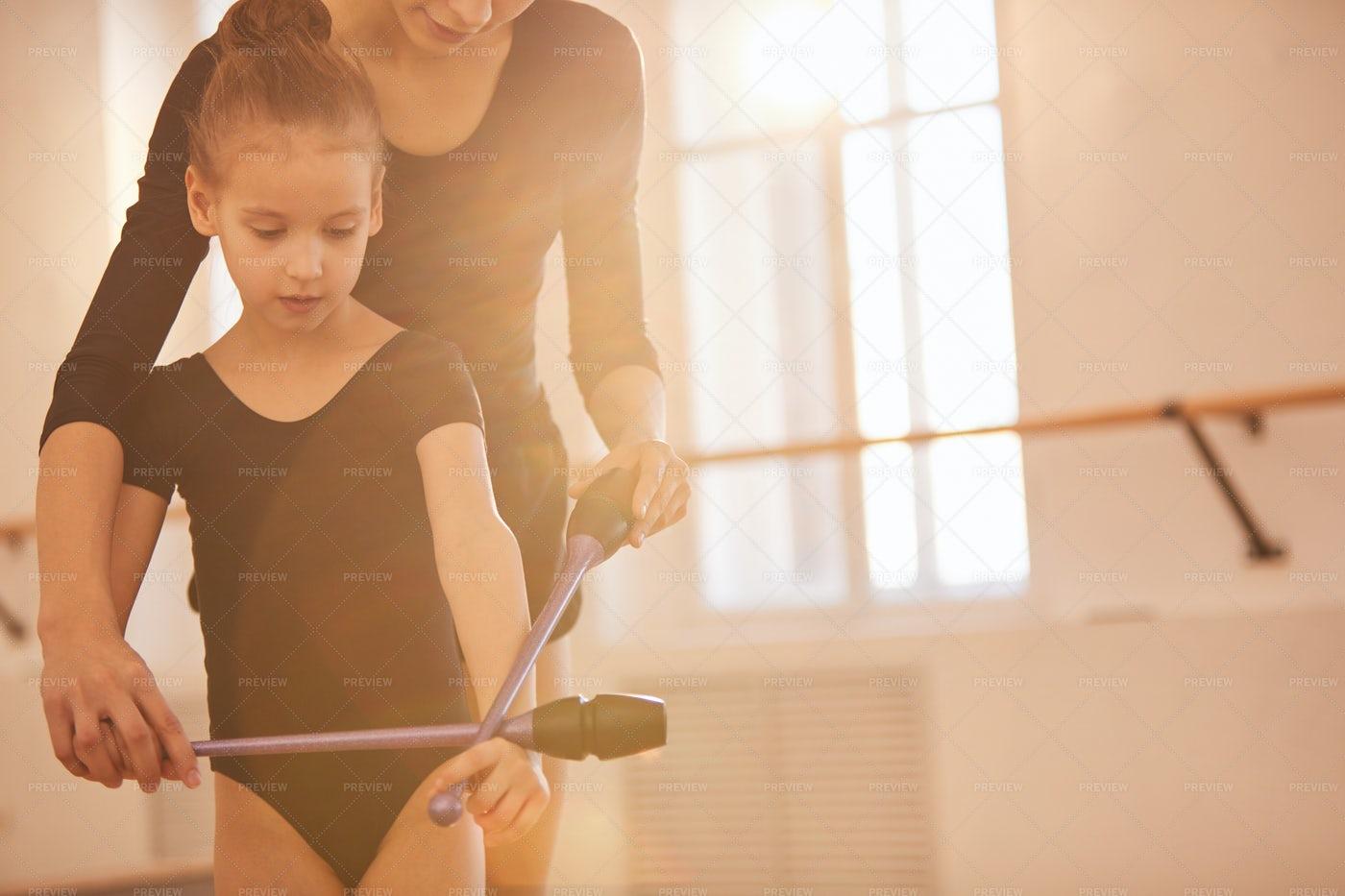 Teaching Little Gymnast: Stock Photos