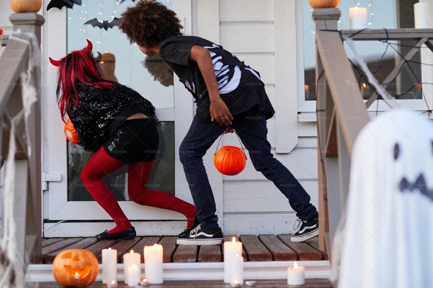 Sneaky Kids On Halloween: Stock Photos