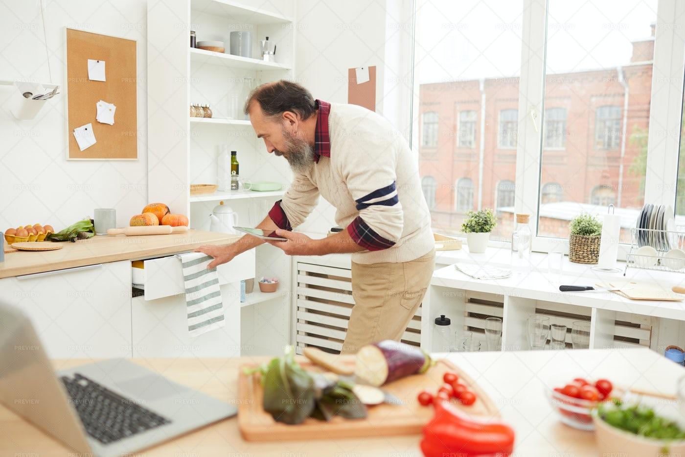 Bearded Senior Man In Kitchen: Stock Photos