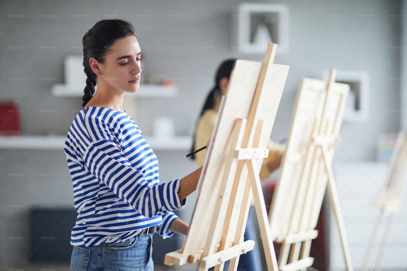 Lesson Of Painting: Stock Photos