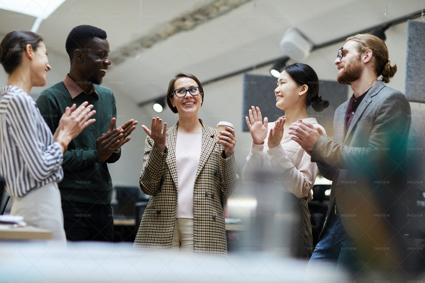 Celebrating Promotion In Office: Stock Photos