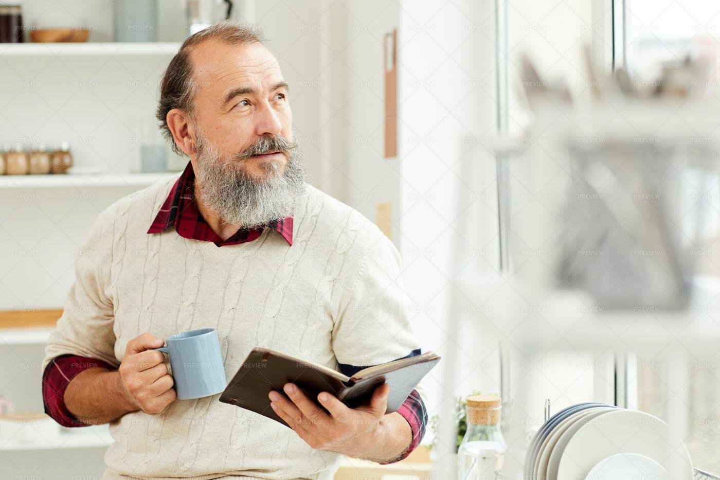 Bearded Senior Man Enjoying Morning...: Stock Photos