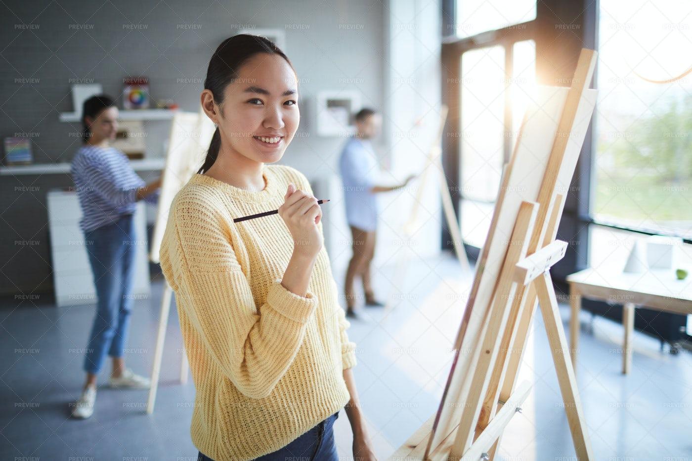 Girl With Pencil: Stock Photos