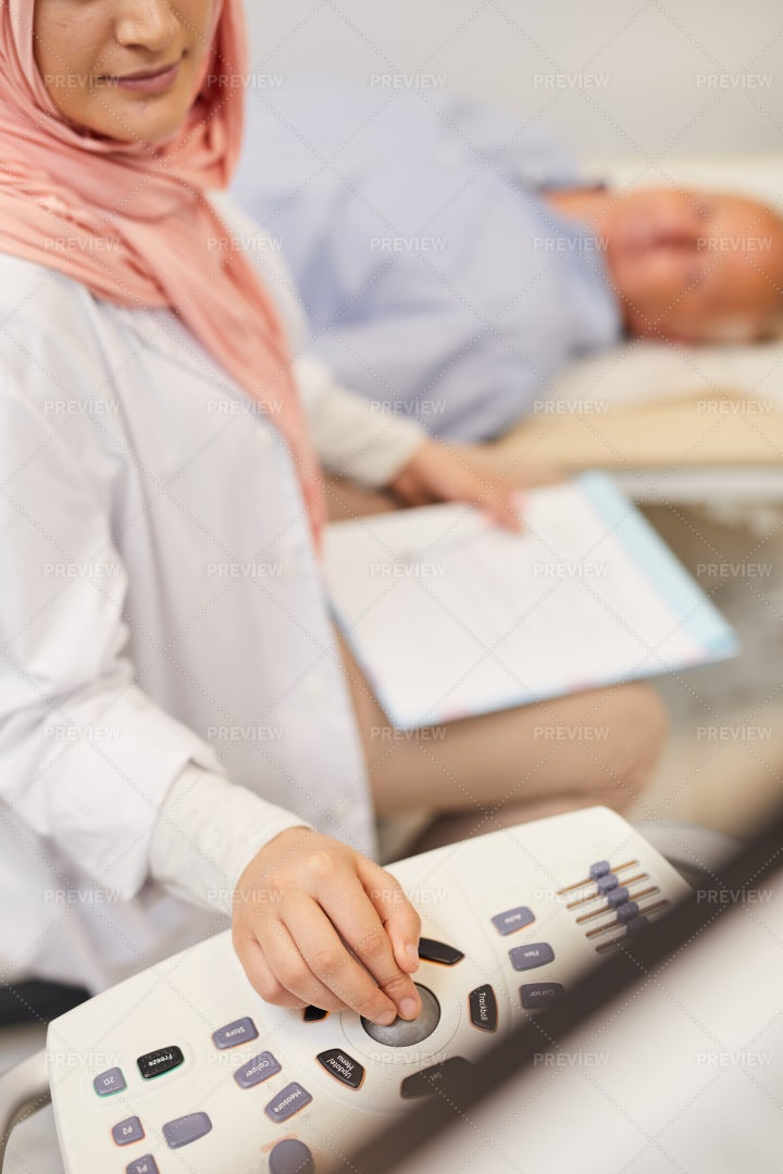 Nurse Using Ultrasound Scan Closeup: Stock Photos