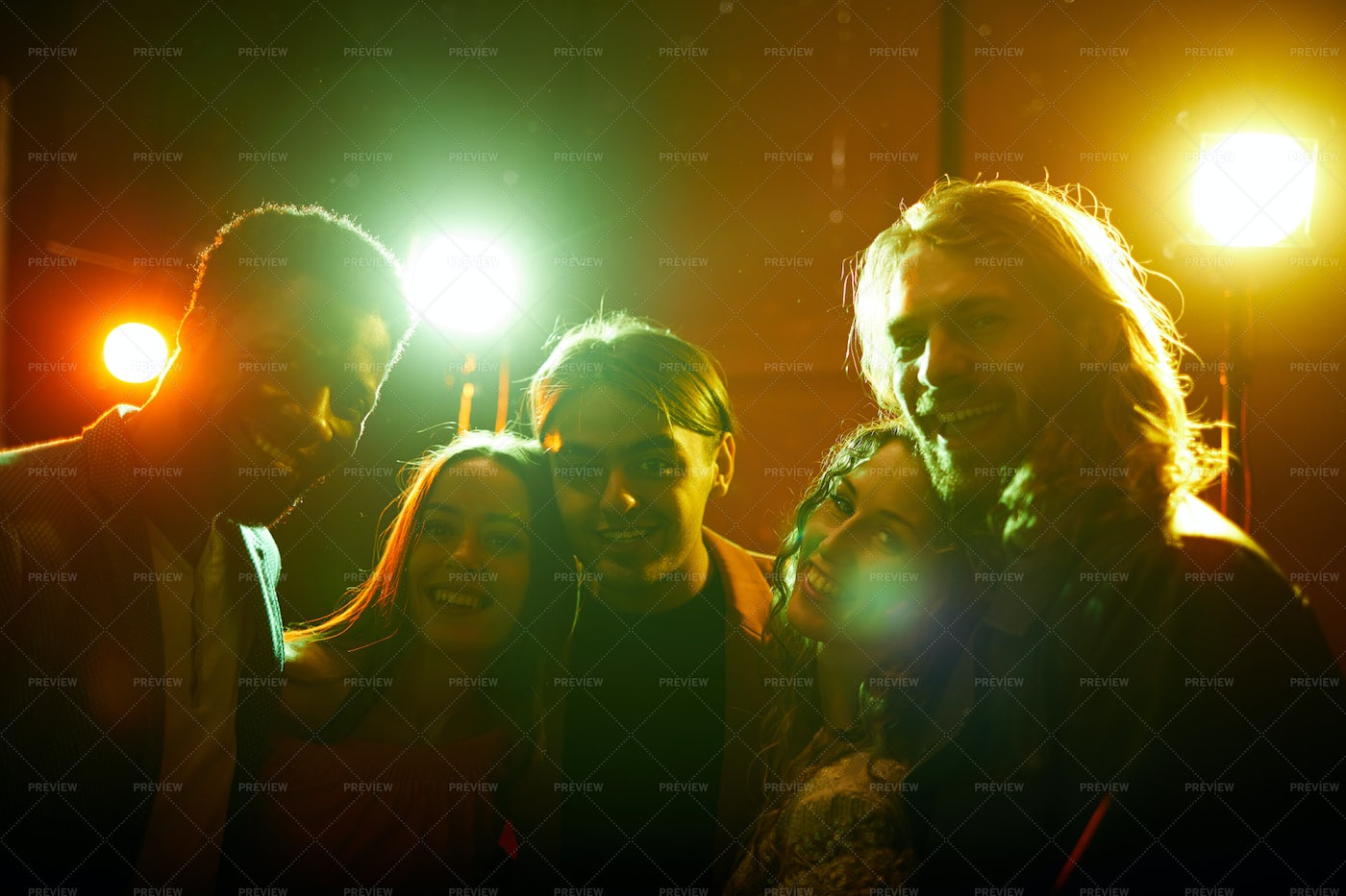 Cheerful Friends In Nightclub: Stock Photos