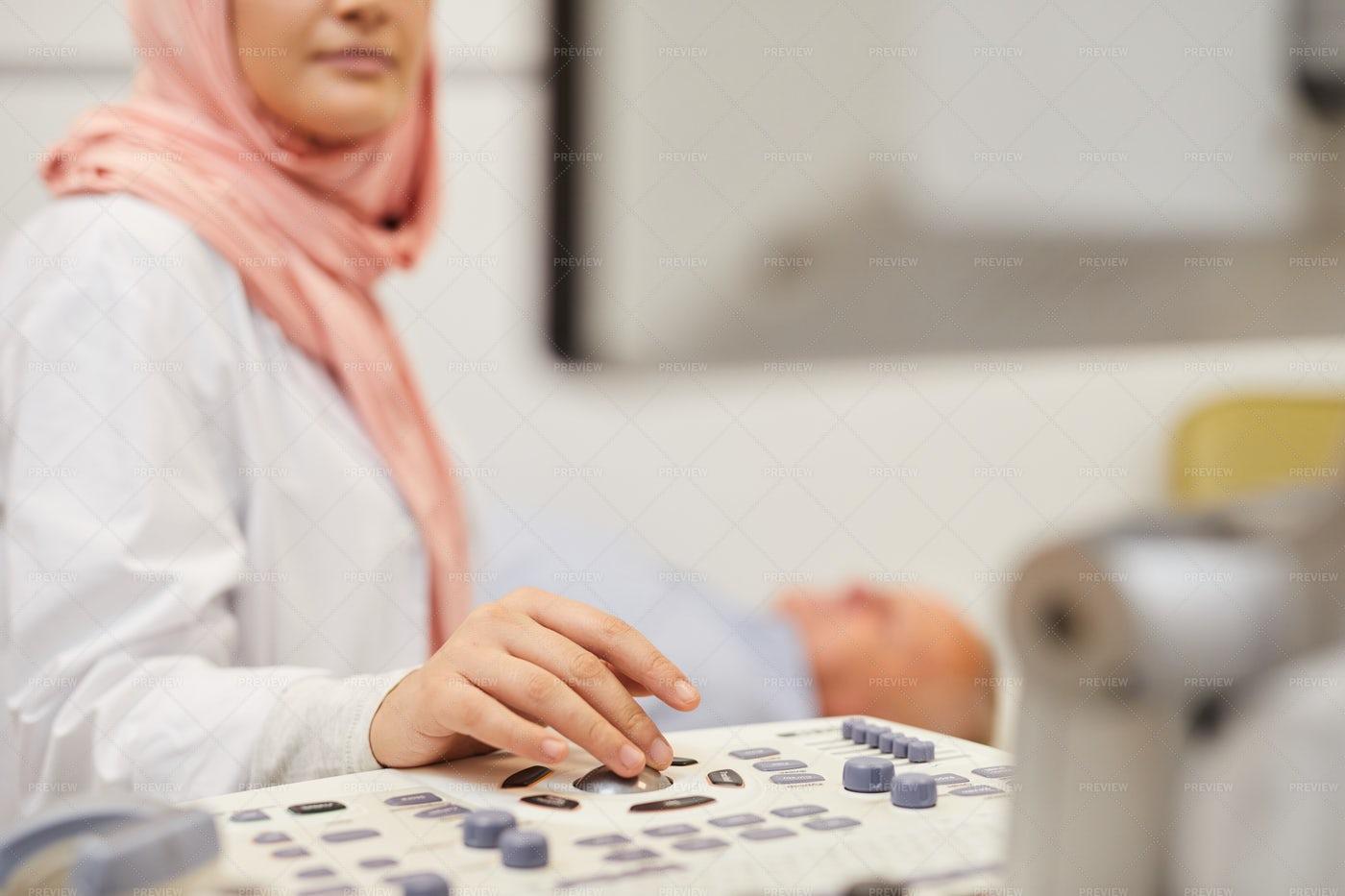 Nurse Using Ultrasound Scan Close...: Stock Photos