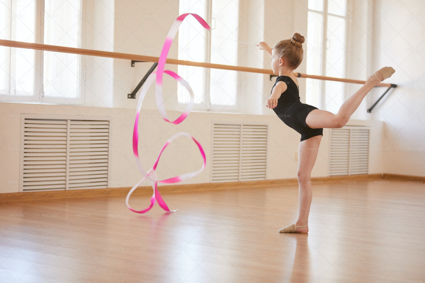 Little Gymnast With Ribbon: Stock Photos