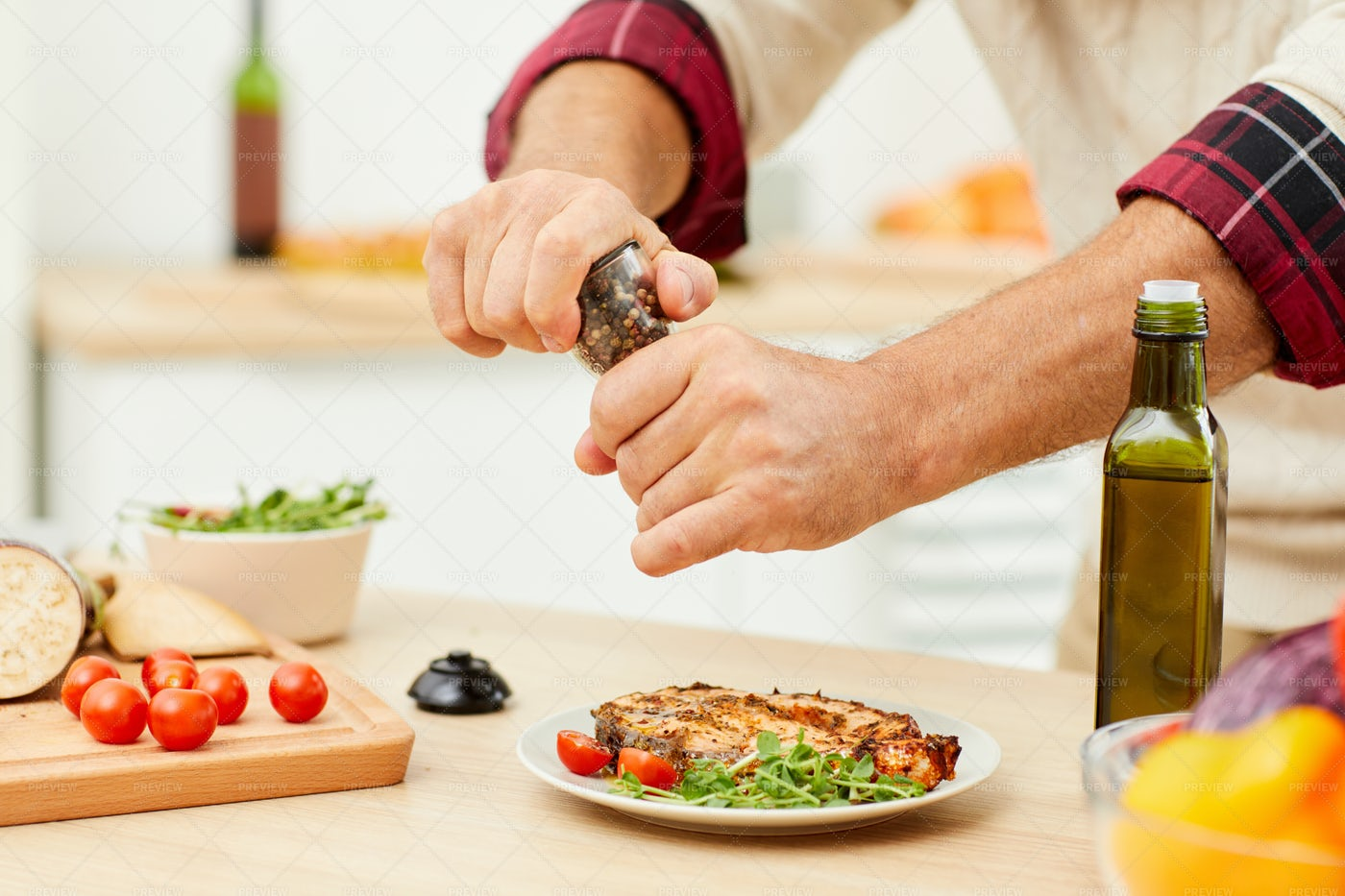 Man Seasoning Homemade Dish: Stock Photos