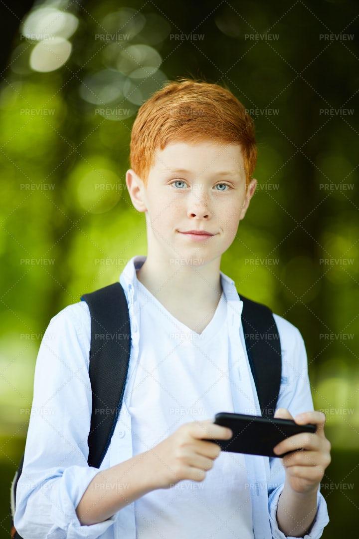 Schoolboy Posing For Photo: Stock Photos