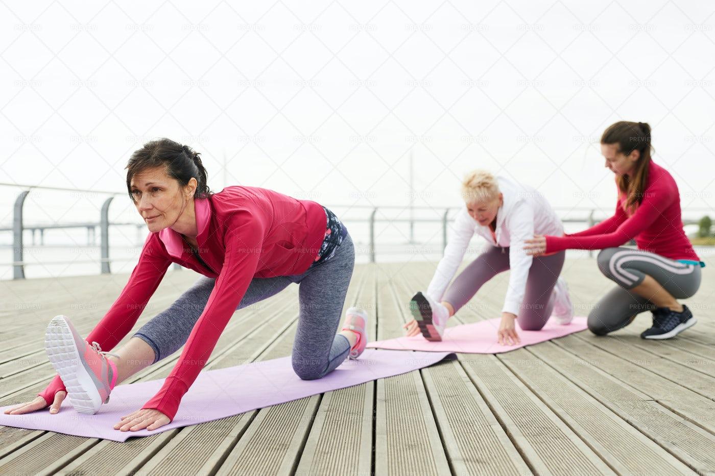 Yoga Class For Mature Women: Stock Photos