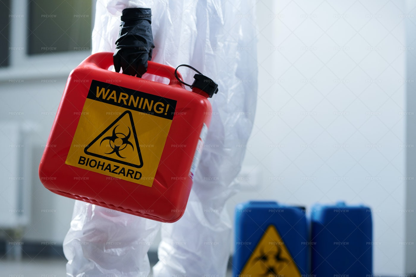 Carrying Container With Biohazard: Stock Photos