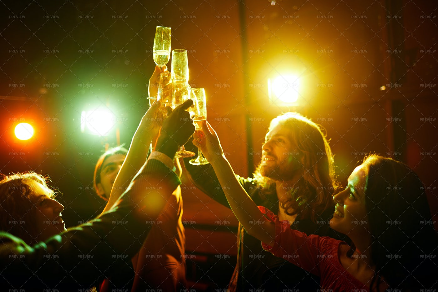 Raising Flutes For Friendship: Stock Photos