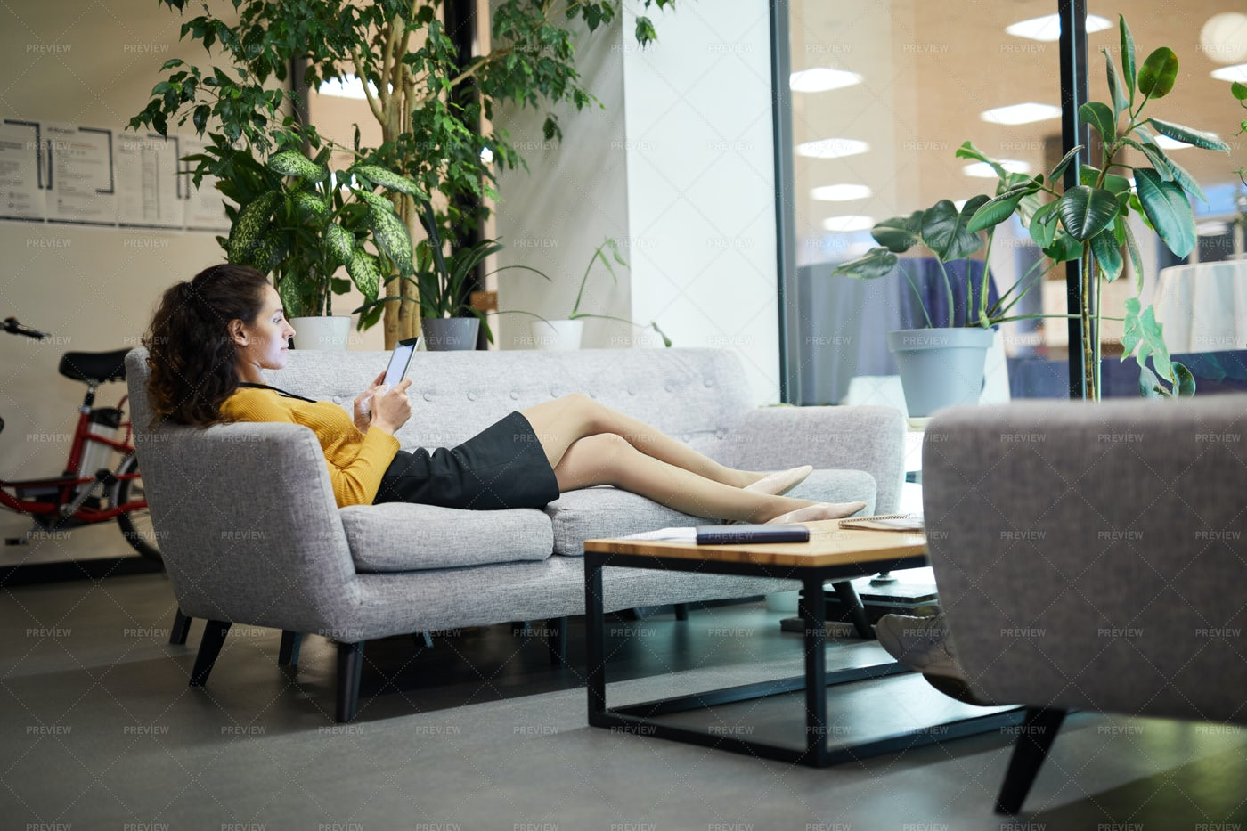 Relaxed Lady Reading Online Article...: Stock Photos