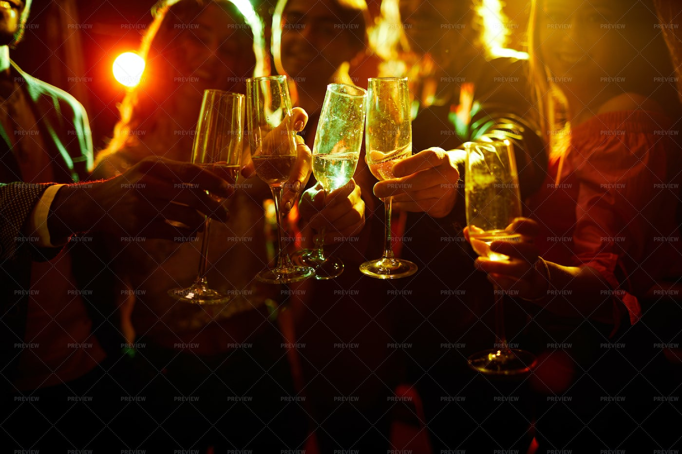 Young People With Champagne Flutes: Stock Photos