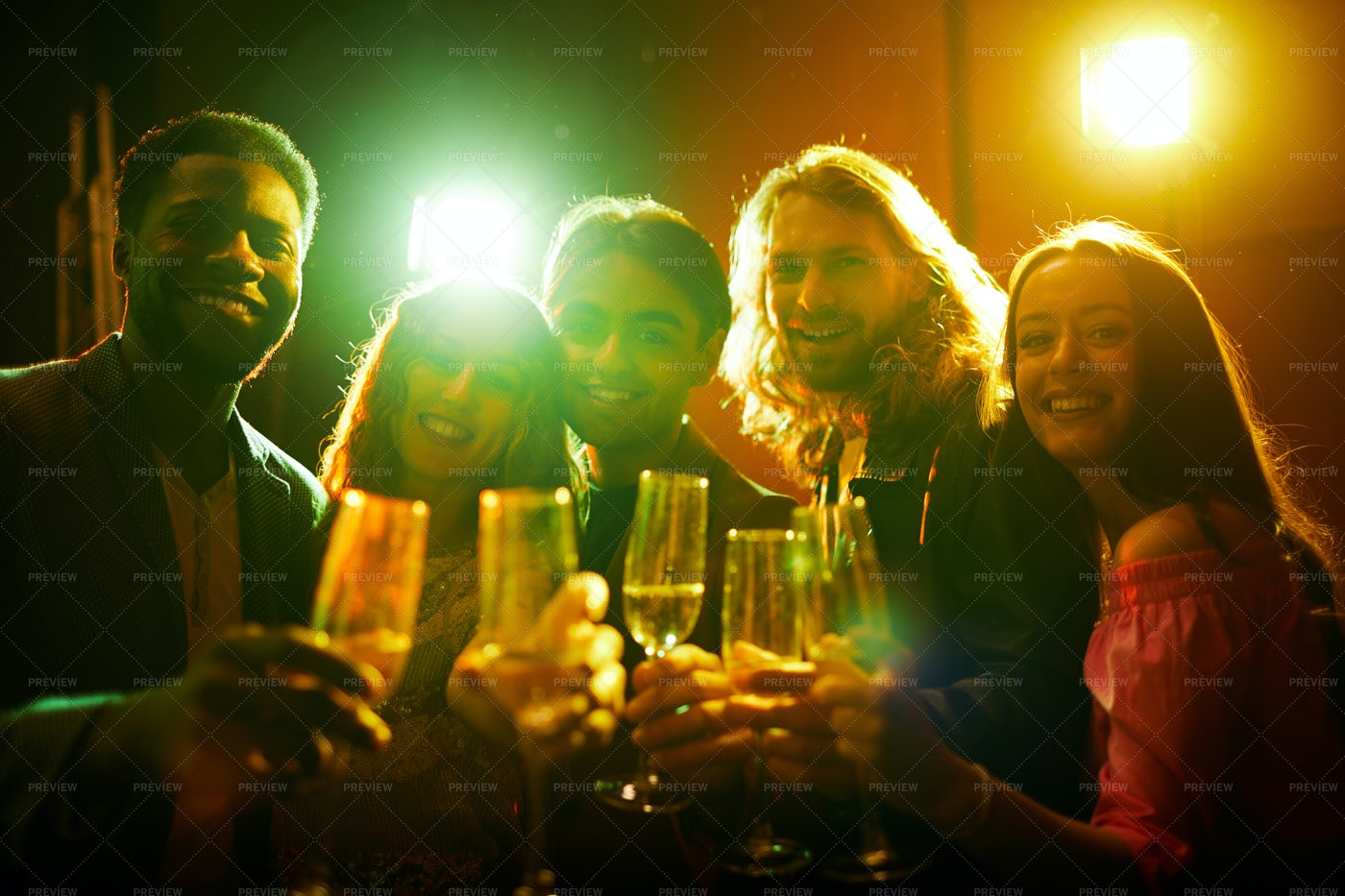 Cheerful Friends Posing With Flutes: Stock Photos