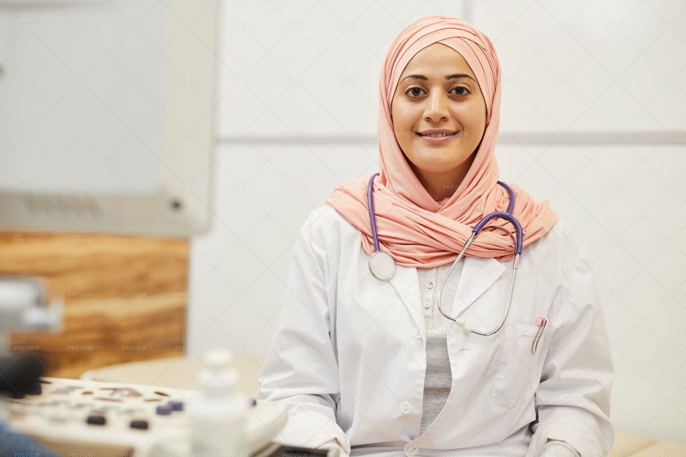Middle-Eastern Nurse Posing In...: Stock Photos