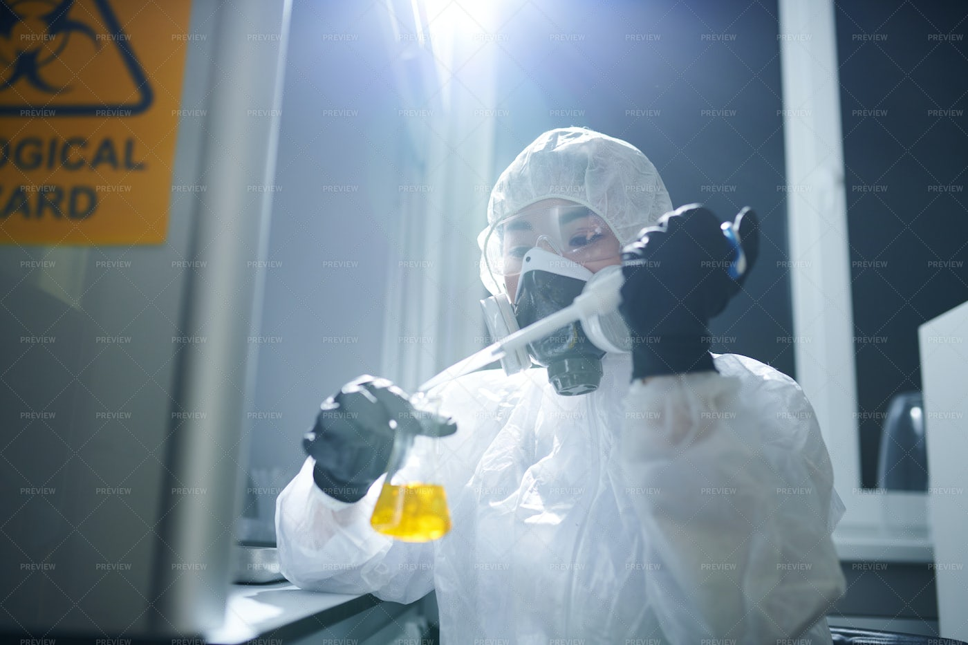 Microbiologist Studying Substance...: Stock Photos