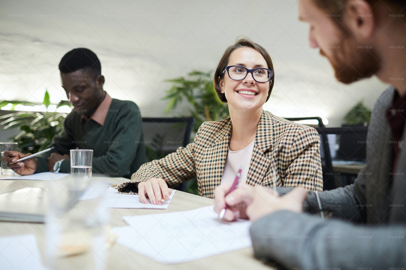 Smiling Business Manager In Meeting: Stock Photos