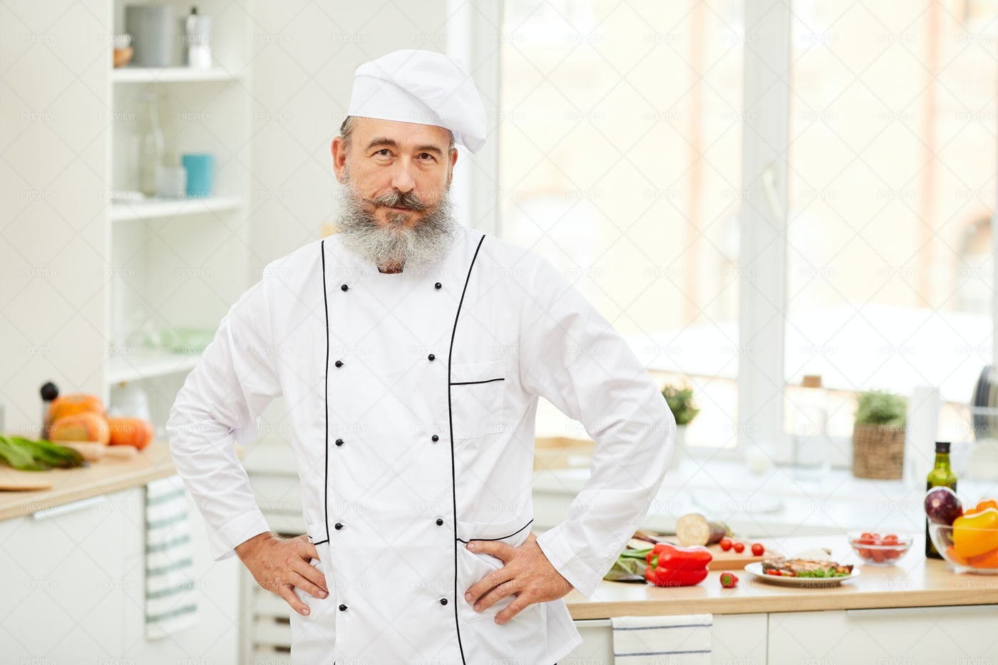 Professional Chef In Kitchen: Stock Photos