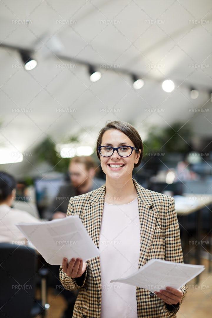 Smiling Businesswoman Posing: Stock Photos