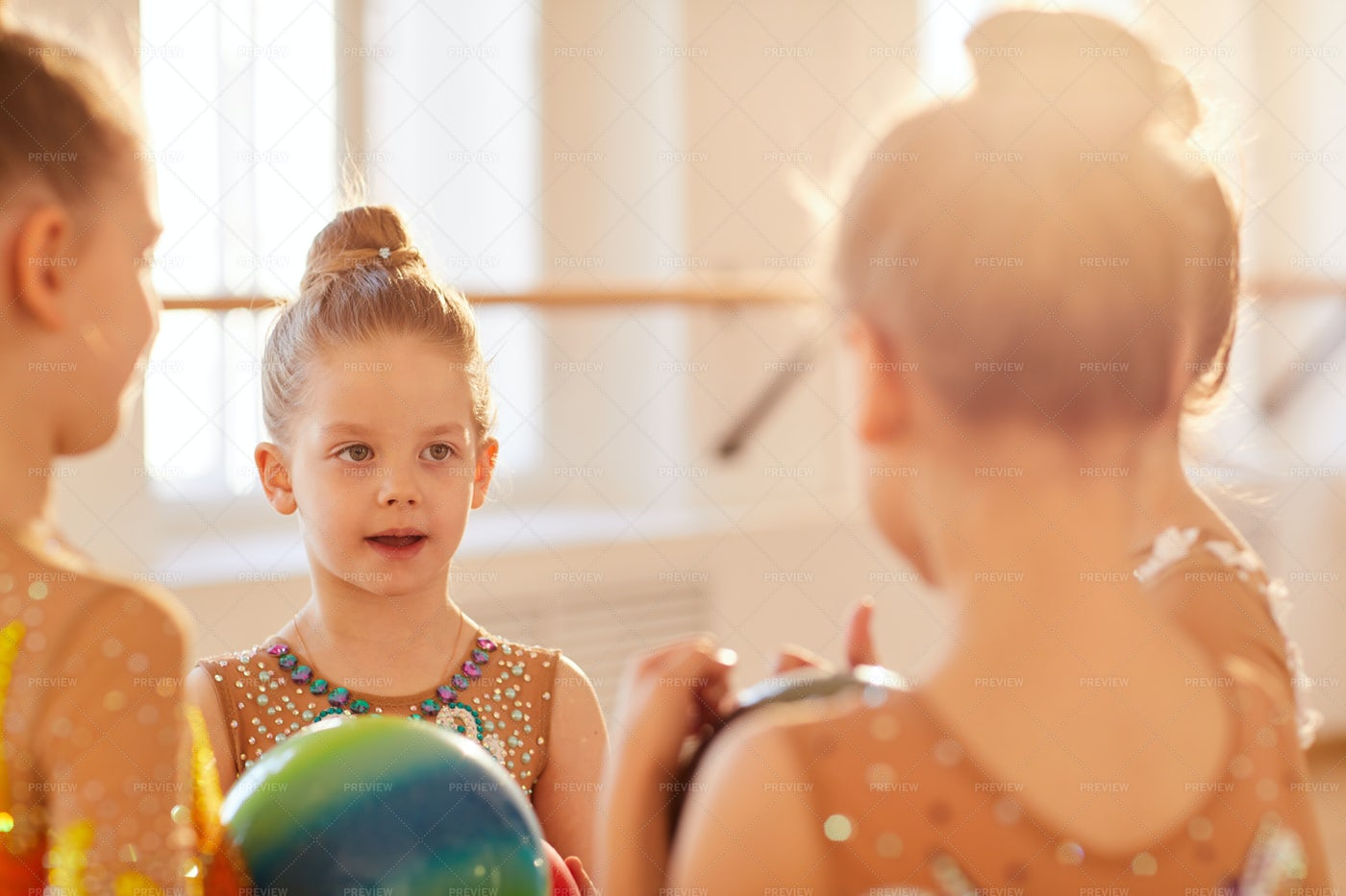Little Gymnasts In Class: Stock Photos