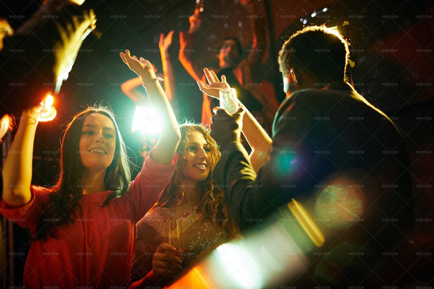 Beautiful Girls Dancing At Party: Stock Photos