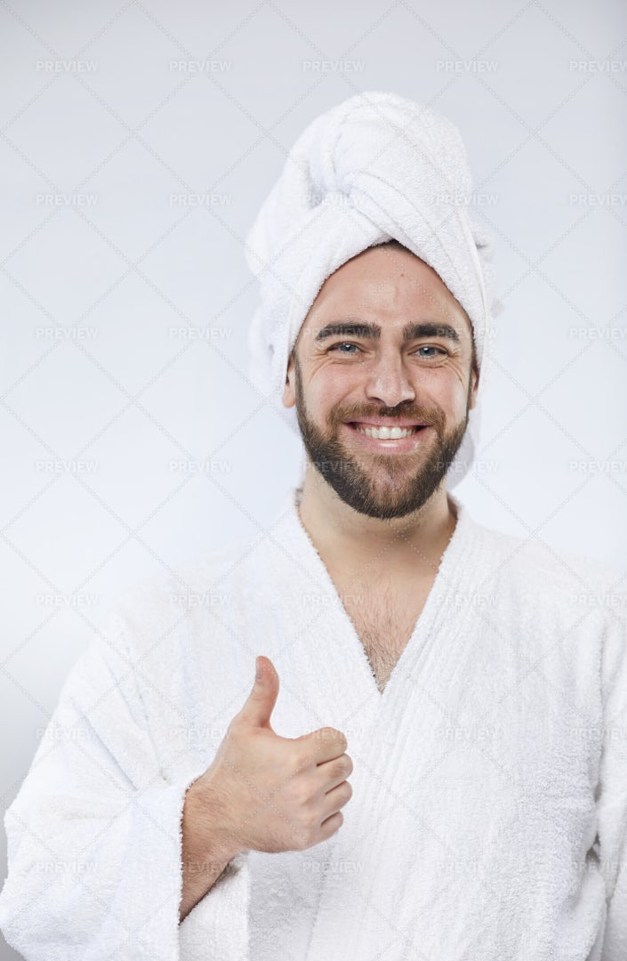 Happy Man After Taking Shower: Stock Photos
