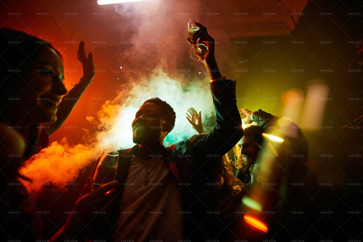 Hilarious People At Noisy Party: Stock Photos