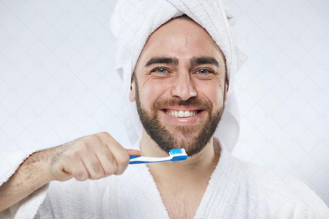 Cheerful Caucasian Man With...: Stock Photos